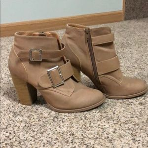 Tan boots with buckle